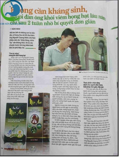 Bác Nguyễn Quang Minh chia sẻ hình ảnh về An phế mộc an được đăng trên báo
