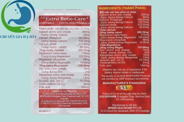 Thành phần thực phẩm chức năng Extra bone care