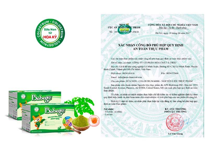 Sữa non Babego có nguyên liệu sữa non nhập khẩu từ Hoa Kỳ kết hợp cùng các dược liệu quý