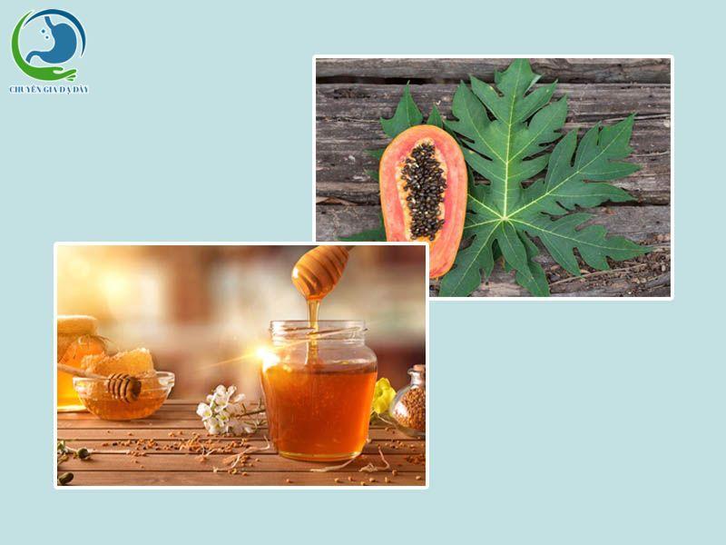 Kết hợp lá đu đủ và mật ong