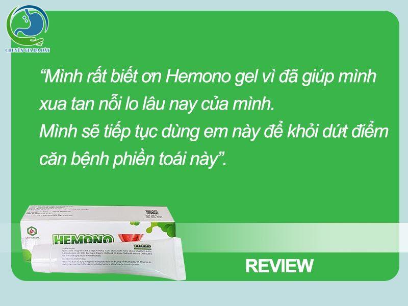 Review về Hemono gel từ khách hàng